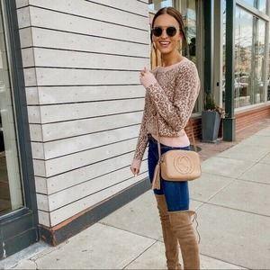 Madewell Wool Shrunken Pullover Sweater Leopard